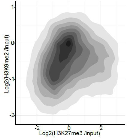 Density contour plots showing correlation between H3K27me3 and H3K9me2 enrichments at all promoters in E6.25 epiblast. DOI: http://dx.doi.org/10.7554/eLife.09571.035
