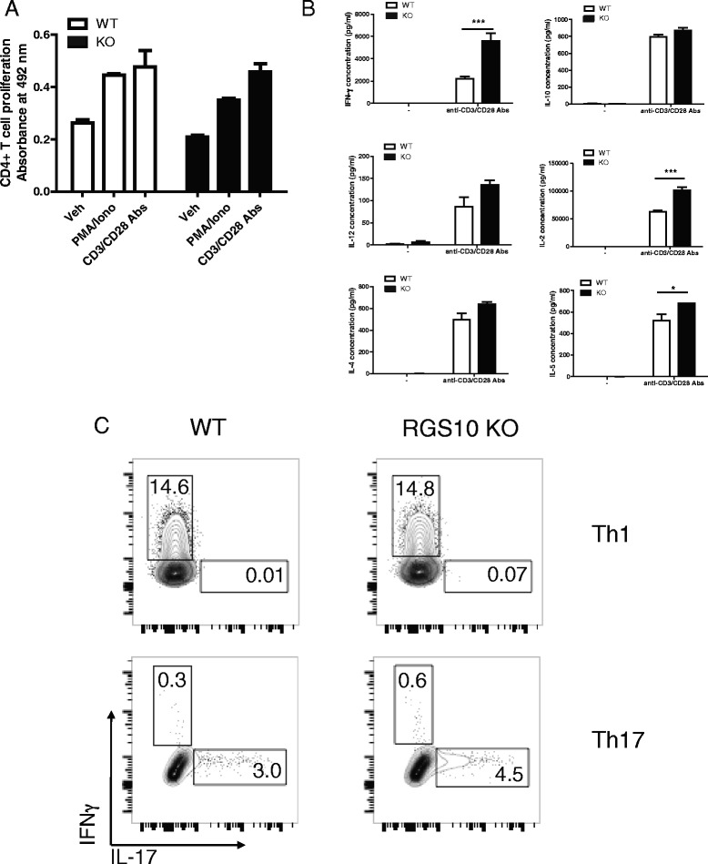 RGS10-null naïve CD4+ T cells displayed intact mitogen-mediated activation and polarization into Th1 or Th17. a CD4+ T cells were isolated from spleens of WT and RGS10-null mice. Cells were treated with PMA (20 ng/ml)/ionomycin (1 μM) or anti-CD3/CD28 (5 μg/ml) in vitro for 72 h. Proliferation was measured by MTS incorporation assay and ( b ) cytokine production was measured by multiplexed immunoassays (MSD). *, p
