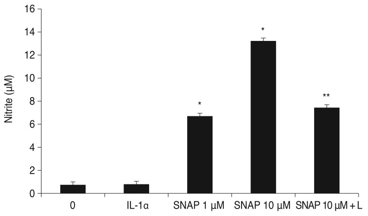 Effect of S -nitroso- N -acetyl-penicillamine (SNAP) with <t>interleukin-1α</t> (IL-1α) on the production of nitric oxide (NO) in trabecular meshwork (TM) cells. SNAP significantly increased NO production in a dose-dependent manner ( * p