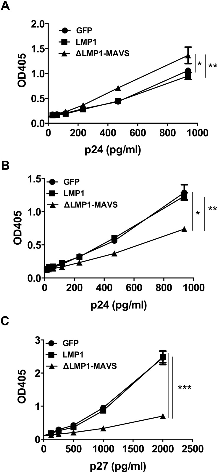 Exosome-depleted 293T supernatant inhibits HIV and SIV replication. 293T cells were transfected with pcDNA3.1 plasmids encoding GFP, LMP1, or ΔLMP1-MAVS and supernatant was isolated. Supernatant was depleted of exosomes by ultracentrifugation. (A) TZM-bl cells were cultured with isolated exosomes and infected with increasing concentrations of HIV-1 BaL. (B) TZM-bl cells were cultured with exosome-depleted supernatant, followed by infection with HIV-1 BaL. (C) TZM-bl cells were cultured with exosome-depleted supernatant, followed by infection with VSV-G pseudotyped single cycle SIV. *p
