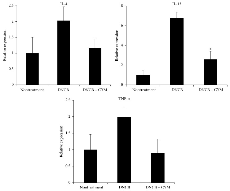 Effect of Cymbidium ethanol extract (CYM) on 2,4-dinitrochlorobenzene- (DNCB-) induced expression of interleukin- (IL-) 4, IL-13, and tumor necrosis factor- (TNF-) α mRNA in atopic dermatitis- (AD-) like mouse model. After inducing AD, 10 mg/mL CYM solution (in 3 : 1 mixture of acetone and olive oil) was applied to the dorsal skin of mice for a total of 6 times over a 2-week period. After euthanasia, dorsal skin lesions were enucleated from mice of all three groups (non-, DNCB, DNCB, and CYM treatment). Total RNA was isolated from extracted tissue of dorsal lesions using Tri-reagent. Total RNA was used as a template for cDNA synthesis, which was performed using a cDNA Synthesis kit. Real-time polymerase chain reaction (qPCR) analysis was carried out using <t>SYBR</t> <t>Green</t> I and a Lightcycler 96 instrument. The qPCR analysis was performed to detect IL-4, IL-13, and TNF- α mRNA expression. Data are mean ± standard deviation (SD, n = 6). ∗ P
