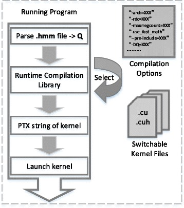 CUDAMPF program with NVRTC. After obtaining query model size and device properties, program dynamically makes decisions on unrolling innermost loop and selects the proper kernel file with compiler options