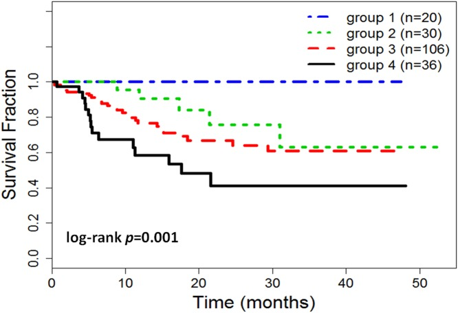 Kaplan Meier curves of disease free survival of risk groups for TNBC patients. The patients were stratified into different risk groups. Two low basal (EGFR≤15% and CK5/6≤50%) risk groups: group 1 (n = 20) with low expressions/values of EGFR (≤15%), CK5/6 (≤50%), Ki-67 (≤50%), pT (≤ 3), and pN (≤ 1), and group 2 (n = 30) with low expressions of EGFR and CK5/6, and any high expressions/values of Ki-67, pT, and pN. Two high basal risk groups: group 3 (n = 106) with single high basal expression (EGFR > 15% or CK5/6 > 50%), and group 4 (n = 36) with double high basal expressions (EGFR > 15% and CK5/6 > 50%).