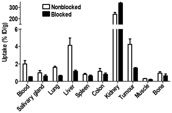 Specificity of 89 Zr-DFO-ZEGFR:2377 uptake in A431 xenografts and EGFR-expressing organs in mice at 3 h after injection. In the blocked group, receptors were saturated by pre-injection of large excess of non-labelled affibody molecules.