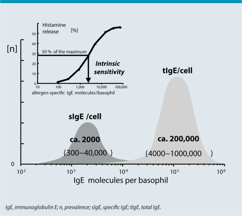 Fc͛RI-bound <t>IgE</t> on effector cells. Light gray area: total bound IgE/cell (number of Fc͛RI occupied by IgE with population-based distribution) on basophilic leukocytes. Dark gray area: specific IgE/cell required for half-maximal cell activation (intrinsic sensitivity of basophils with population-based distribution). The distribution of both variables is approximately normal and can differ significantly; evidently, a fraction (ca. 1%) of bound total IgE is sufficient for half-maximal allergen specific activation. For this reason, the ratio of specific to total IgE is interesting in terms of interpretation. Inset top left: individual mediator release as a function of cell-bound specific IgE; basis for the population-based normal distributions illustrated in the lower part of the figure.