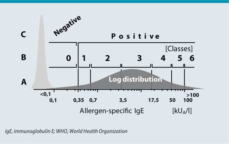 Options for the evaluation of logarithmically distributed allergen-specific IgE levels. A quantitative; B semi-quantitative (since entry into force of the German Medical Association guideline, Richtlinie der Bundesärztekammer (RiliBÄK), this term is no longer provided for; specific IgE levels given only in classes are considered as qualitative evaluations); C qualitative. Allergen-specific IgE levels expressed as units of specific IgE, kUA/l (A stands for allergen-specific), using WHO standards for total IgE determination (heterologous calibration). Light gray area: population of serum samples with no allergen-specific IgE (levels fall below the detection limit of 0.1 kUA/l). Dark gray area: population of positive serum samples with logarithmic (hypothetically normal) distribution of allergen-specific IgE levels above the detection limit of 0.1 kUA/l