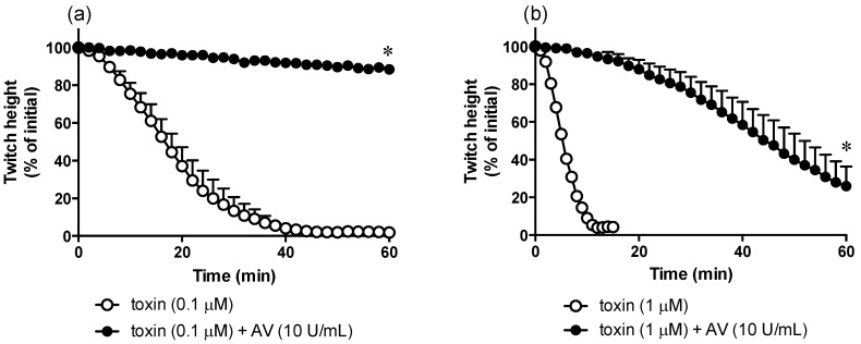 Effect of ( a ) α-elapitoxin-Ot1a (0.1 µM) alone and in the presence of taipan antivenom (AV; 10 U/mL) or ( b ) α-elapitoxin-Ot1a (1 µM) alone and in the presence of taipan antivenom (AV; 10 U/mL) on indirect twitches of the chick biventer cervicis nerve-muscle preparation. * p