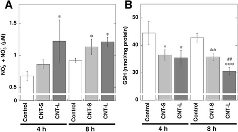 NO release and GSH decrease in MWCNT-treated cells. A549 cells were treated with 1 μg/ml MWCNT for indicated durations at 37 °C. a NO release from MWCNT-treated cells. The concentrations of NO 2 - and NO 3 - in culture supernatant were measured by the Griess method as described in Methods. b Decrease of GSH contents in MWCNT-treated cells. Intracellular GSH contents were measured with HPLC coupled with an ECD as described in Methods. Data represent means ± SD of 3 independent experiments. * p