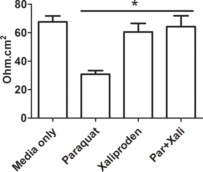 Xaliproden protects against the loss of tight junctions in the presence of paraquat. ARPE-19 cells were seeded in 24 <t>Transwell</t> plates and grown in low serum medium for 2 weeks. The cells were then treated with paraquat (300 µM), xaliproden (20 µM), or a combination of the two for 24 h before the transepithelial resistance (TEER) was measured in a volt/ohm meter. Bars represent the average electrical resistance from triplicates ± standard deviation (SD). *, p = 0.006 between paraquat, and paraquat + xaliproden, as determined with one-way ANOVA. Par = paraquat; Xali = xaliproden.