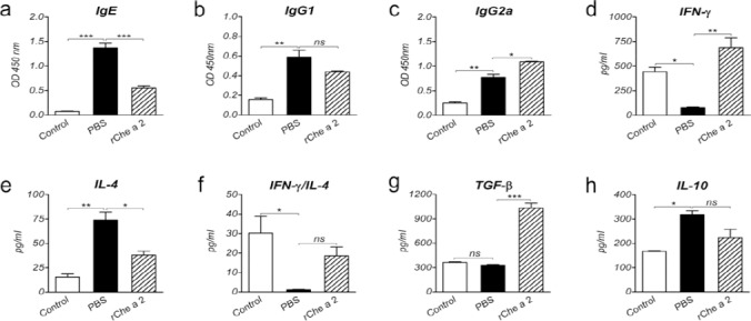Systemic responses after sublingual immunotherapy. a-c, Specific IgE (a), IgG1 (b), and IgG2a (c) serum levels in control (non-sensitized), PBS-treated (sham treated), and rChe a 2-treated groups. d-h, IFN-γ (d), IL-4 (e), TGF-β (g), and IL-10 (h) levels and IFN-γ/IL-4 (f) in the supernatants of splenocytes stimulated with rChe a 2 from the respective groups. Bars indicate the average OD of antibody levels or cytokine concentrations in pg/ml ± SEM. ns, not significant. * P
