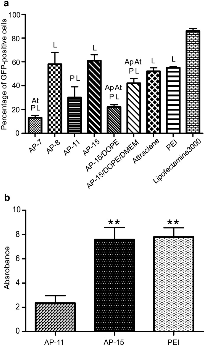 Evaluation of <t>transfection</t> efficiency of B16-F10 cells transfected with use of carrier:pDNA complexes. (a) Percentage of GFP-positive cells transfected with complexes: AP:pGFP at different N/P ratios (r = 1.7 for AP-7, AP-8, AP-11, r = 2.0 for AP-15) and AP-15/DOPE:pGFP, AP-15/DOPE/DMEM:pGFP lipoplexes containing 2.5 μg of lipids/μg of pGFP, analysed by FACS; Ap- significant difference from AP-15 treatment, At- significant difference from <t>Attractene</t> treatment, L- significant difference from Lipofectamine treatment, P- significant difference from PEI treatment, (b) Activity of β-galactosidase in cells transfected with complexes: AP-11:pLacZ, AP-15:pLacZ, PEI:pLacZ, at r = 2.0–2.5 N/P ratio, studied by β-Gal test; *P