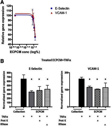 a Dose-dependent anti-inflammatory effects of ECPCM. HAEC were treated for 2 h with TNFα in collection medium, ECPCM, or serial dilutions (1:2) of ECPCM in collection medium. The graph shows the percentage of expression of E-selectin and VCAM-1 relative to that observed for TNFα in collection medium, as determined by real-time PCR analysis. Data = mean ± SEM. b ECPCM anti-inflammatory activity is not affected by proteinase K or RNase treatment. Gene expression of E-selectin and VCAM-1 was analysed by real-time PCR after treatment for 2 h with TNFα. HAEC were treated with collection medium, ECPCM or ECPCM previously treated with proteinase K or RNase. p value: *