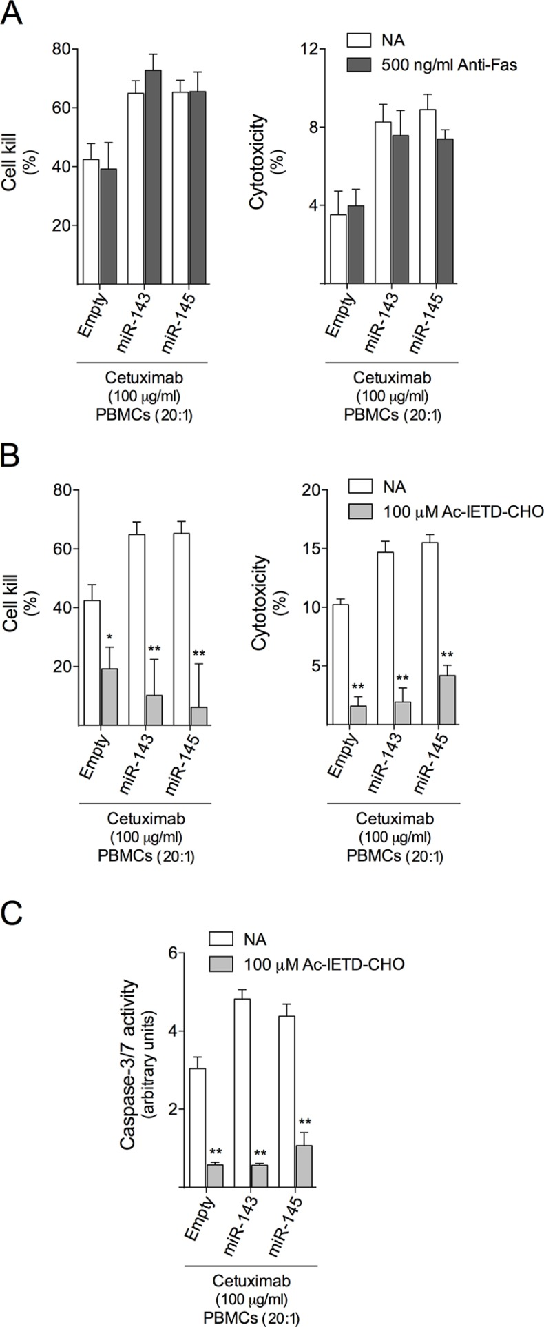 <t>Granzyme</t> B inhibition abrogates cetuximab-mediated ADCC in HCT116 cells HCT116-Empty, HCT116-miR-143 or HCT116-miR-145 cells were exposed to 100 μg/ml cetuximab or PBMCs (20:1) alone, or co-treatment of cetuximab together with PBMCs, or vehicle (control). Cetuximab-mediated ADCC was evaluated using the xCELLigence system and LDH release assay in ( A ) cells pre-treated for 2 h with 500 ng/ml of neutralizing antibody to Fas (ZB4), or in ( B ) cells exposed to PBMCs pretreated for 30 min with 100 μM Ac-IETD-CHO. ( C ) Caspase -3/7 activity was determined as described above. Results are expressed as (A, B) mean ± SEM, or (C) mean ± SEM fold-change to respective untreated cells. ** p