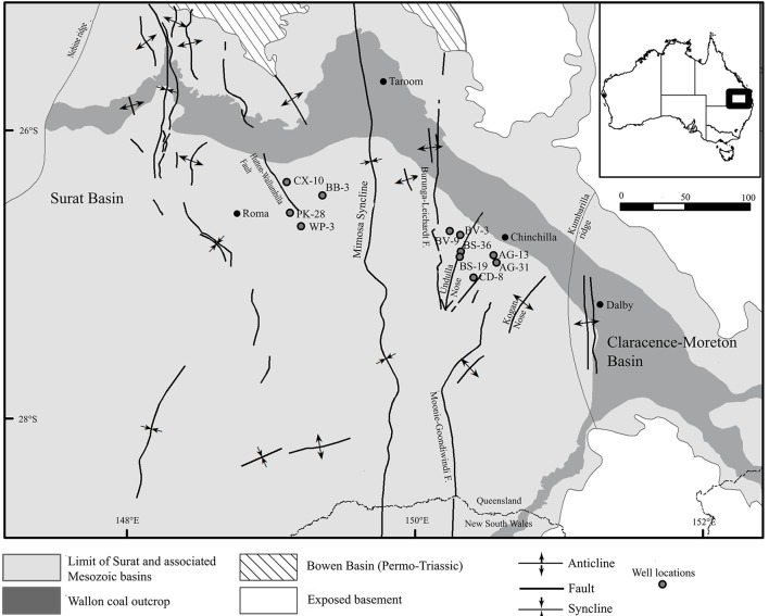 Map of the Surat Basin (Queensland, Australia) showing the locations of CBM production wells sampled for metagenomic sequencing . Map modified from Hamilton et al. ( 2014 ).