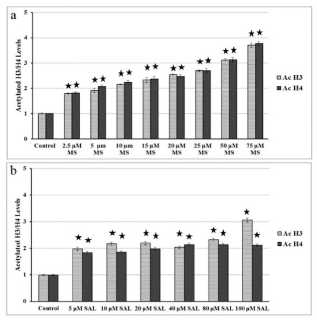 Acetylated histone H3 and H4 levels in BxPC-3 cells treated with MS (a) and SAL (b) alone or in combination with EF for 24 h. MS: MS-275; SAL: Salermide; EF: EF24 *p