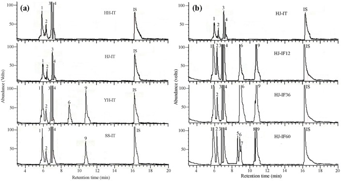 Representative total ion current chromatograms of the volatiles emitted by intact and  Conogethes punctiferalis  infested Huaijiu fruits. (a) Representative total ion current chromatograms of the volatiles emitted by intact fruits of four chestnut cultivars, HH-IT = intact Huaihuang fruits, HJ-IT = intact Huaijiu fruits, YH-IT = intact Yanhong fruits, SS-IT = intact Shisheng fruits, (b) Representative total ion current chromatograms of the volatiles emitted by intact and  C .  punctiferalis  infested Huaijiu fruits, HJ-IT = intact Huaijiu fruits, HJ-IF12 = Huaijiu fruits infested by  C .  punctiferalis  for 12 h, HJ-IF36 = Huaijiu fruits infested by  C .  punctiferalis  for 36 h, HJ-IF60 = Huaijiu fruits infested by  C .  punctiferalis  for 60 h. (1)  α -pinene, (2) camphene, (3)  β -thujene, (4)  β -pinene, (5) eucalyptol, (6)  β -ocimene, (7) 3-carene, (8) nonanal, (9) ( E )-2-butenoic acid,2-(methylene-cyclopropyl)prop-2-yl ester, (IS) internal standard ( n -nonyl acetate).