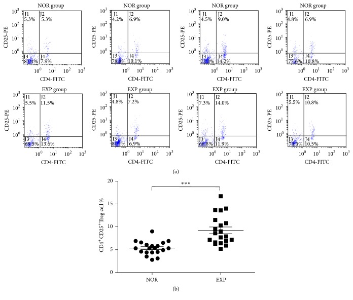 Percentage of CD4 + CD25 + Treg cells in the peripheral blood lymphocytes from the NOR group and EXP group. (a) Flow cytometry of CD4 + CD25 + Treg cells from partial samples of the NOR group and EXP group. (b) Percentage of CD4 + CD25 + Treg cells in the peripheral blood lymphocytes from the NOR group and EXP group ( n = 20 per group). Note: NOR: normal group; EXP: experiment group. Comparing with the NOR group, ∗∗∗ P