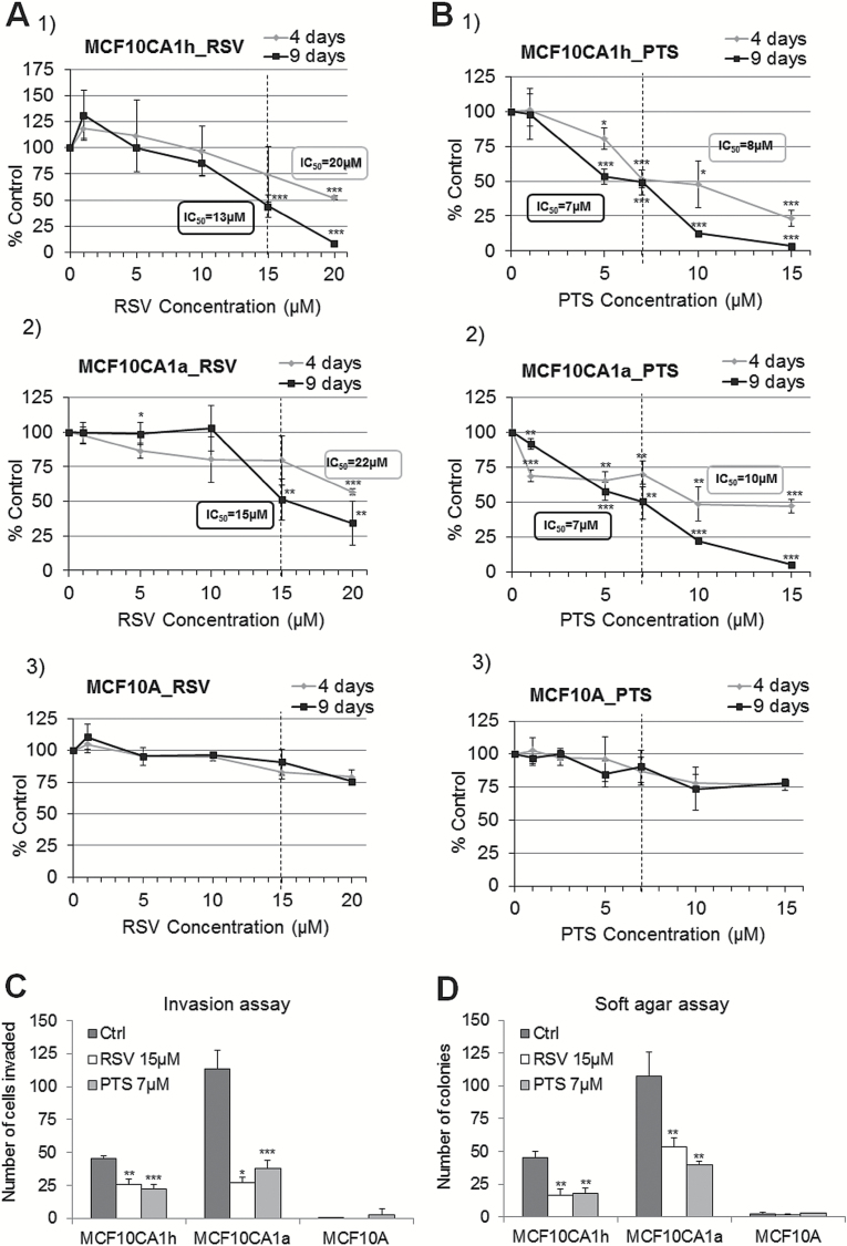 Cancer-specific effects of RSV and <t>PTS:</t> inhibition of cell growth and invasive capacities. (A,B) Effect on cell growth after 4-day- and 9-day treatment with RSV (A) and PTS (B) at 5–20 µM concentrations in MCF10CA1h ( 1 ) and MCF10CA1a ( 2 ) breast cancer cells and in <t>MCF10A</t> ( 3 ) immortalized mammary epithelial cells; (C,D) effect on cell invasion (C) and anchorage-independent growth (D) as measured by Boyden chamber invasion assay and soft agar, respectively, upon 9-day exposure to 15 µM RSV and 7 µM PTS. All results represent mean ± SD of three independent experiments; *** P
