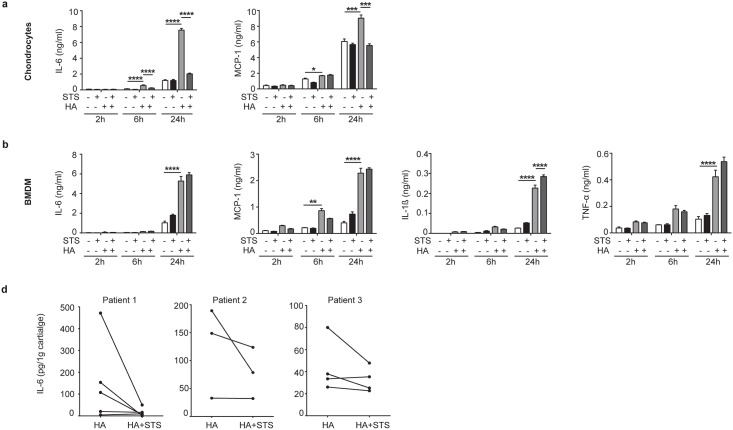 STS inhibits HA-induced cytokine and chemokine selectively in chondrocytes. ( a ) IL-6 and MCP-1 secretion by primed murine joint chondrocytes and ( b ) IL-6, MCP-1, IL-1β and TNF-α secretion by primed murine BMDM, stimulated or not with HA crystals (500ug/ml) and treated or not with 25mM STS 25mM for 2, 6 and 24hrs. Values represent means±SD of triplicates from one representative experiment of three independent experiments. ( c ) IL-6 secretion by human cartilage explants was measured by ELISA. Explants were stimulated with 500μg/ml of HA crystals in presence or absence of STS 25Mm for 24 h. Matched-halves of cartilage explants are connected by a line (5 explants for patients 1, 3 for patient 2, 4 for patient 3). Values represent means±SD of triplicate samples. * p