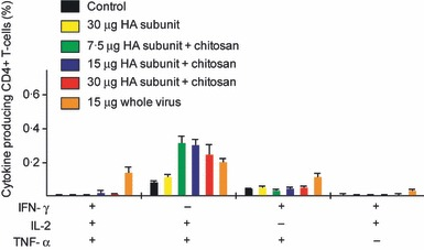 The multifunctional influenza‐specific Th1 CD4+ cytokine‐secreting response. Groups of five mice were intranasally immunised twice (21 days apart) with a subunit (SU) influenza A H5N1 vaccine. The control group consisted of unimmunised mice. Three groups were vaccinated with different antigen doses (7.5, 15 or 30 μg HA) of the chitosan‐adjuvanted (+) SU vaccine. One group was vaccinated with a non‐adjuvanted (−) SU vaccine with 30 μg HA, and a further group was immunised with a non‐adjuvanted 15 μg HA whole virus (WV) vaccine. Splenocytes were activated in vitro with homologous H5N1 antigen and were intracellularly stained for cytokine products and analysed by flow cytometry. The bars show the mean frequencies of multifunctional cells expressing combinations of IFN‐γ, IL‐2 and TNF‐α. HA, haemagglutinin.
