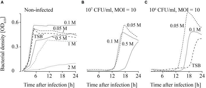 Growth curves of uninfected (A) and infected (B,C; MOI = 10) L. monocytogenes in TSB and NaCl containing TSB media. Bacteria concentrations at the beginning of the infections were 10 7 CFU/ml (A,B) and 10 6 CFU/ml (C) . All NaCl concentrations (0–2 M) were tested. For the sake of clarity only the curves of growing bacteria were demonstrated while the others on base line level were not depicted. Moreover, one of four independent experiments is representatively shown.