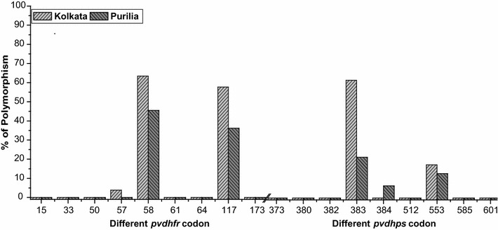 Frequency (% percentage) of different pvdhfr and pvdhps genotype