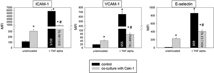 Endothelial surface expression of adhesion receptors on HMEC-1 and HC-6014 cells after TNF-alpha [500 U/ml] stimulation and/or co-cultivation with Caki-1 cells Expression of ICAM-1, VCAM-1 and E-selectin after 24h TNF-alpha [500 U/ml] stimulation. MFI = mean relative fluorescence intensity. *indicates significant difference to untreated controls. #indicates significant difference to TNF-alpha stimulated HUVEC. n=5.
