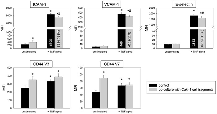 Impact of Caki-1 cell fragments on endothelial surface expression FACscan analysis of ICAM-1, VCAM-1, E-selectin, CD44 V3 and CD44 V7 after 12h TNF-alpha [500 U/ml] stimulation and/or co-cultivation with Caki-1 cell fragments. MFI = mean relative fluorescence intensity. *indicates significant difference to untreated controls. #indicates significant difference to TNF-alpha stimulated HUVEC. n=5.