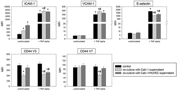 Influence of supernatants (culture medium) from Caki-1 or Caki-1-HUVEC co-culture FACscan analysis of ICAM-1, VCAM-1, E-selectin, CD44 V3 and CD44 V7 after 12h TNF-alpha [500 U/ml] stimulation and/or co-cultivation with Caki-1 or co-culture supernatants (culture medium). MFI = mean relative fluorescence intensity. *indicates significant difference to untreated controls. #indicates significant difference to TNF-alpha stimulated HUVEC. n=5.
