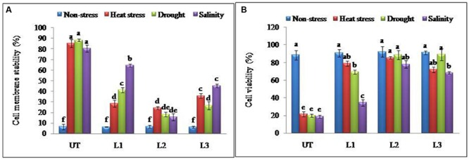 Enhanced cellular adjustments in StnsLTP1 transgenic lines (A) Percent membrane damage and (B) percent cell viability indicated by TTC reduction in StnsLTP1 transgenic lines (L1, L2, and L3) and UT potato plants under, non-stress, heat, drought and salinity stress conditions. Means of three independent samples and standard errors are presented. The same letter above the column indicates no significant difference at P