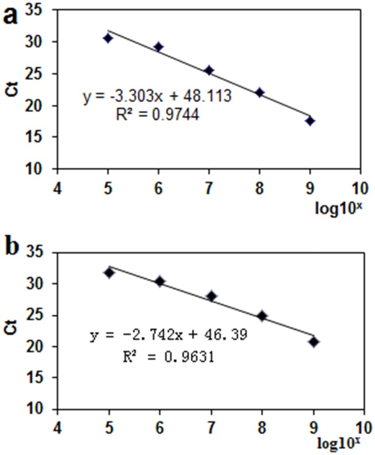 Standard curves for <t>RT-qPCR</t> assays of G6PDH and EF1 mRNA expression. Standard curve for G6PDH (a) was generated using V . mali <t>cDNA</t> serially (10 9 to 10 2 fg/μL) diluted in host cDNA (10 9 fg/μL). Standard curve for EF1 (b) was generated by Malus × domestica cv. Fuji cDNA diluted serially (10 9 to 10 2 fg/μL) in water. A linear regression curve was calculated for use to quantify RNA levels from plant samples.