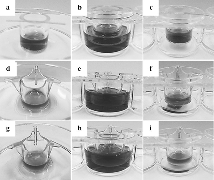 Gross observation showing advantages of CVM chambers in comparison to control Millicell chambers. In order to design three different culture methods described in Fig. 1 using CVM chambers and their control Millicell chambers, 0.50 ml of culture medium was poured in the inside of each chamber pre-set on the solid ( a , d , g ), liquid ( b , e , h ), and gas ( c , f , i ) surfaces and the capability for preserving the inside culture medium was examined by keeping each condition for 2 h. The chambers in ( a – c ), ( d – f ), and ( g – i ) represent CVM chambers, control Millicell chambers with a 1.0 µm-porous PET membrane, and those with a 0.4 µm-porous PET membrane, respectively