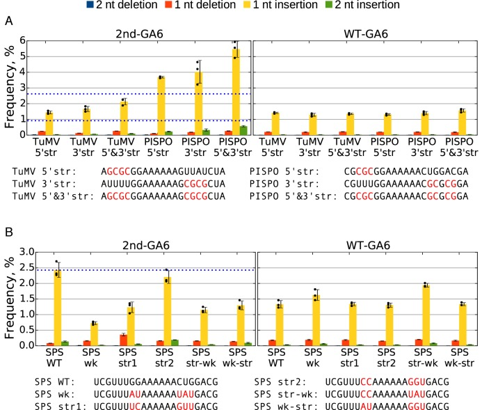 Detection of slippage events at mutated slip site sequences. ( A and B ) Plants were inoculated with various 2nd-GA6 constructs and systemically infected leaves harvested at 11 d p.i. Total RNA was extracted and subjected to targeted high-throughput sequencing. For each mutant three biological samples were used ( n = 3). The sequences at the 2nd-GA6 site are shown below each graph, with mutated nucleotides indicated in red. The mean frequencies of deletions or insertions at the 2nd-GA6 site of each construct are shown in the left panel and the corresponding WT-GA6 data are shown in the right panel. Error bars indicate standard deviations; black dots mark individual samples for the single-nucleotide insertion data. Reference values for TuMV WT, PISPO WT and SPS WT 2nd-GA6 (0.92, 2.65 and 2.43%) are indicated with horizontal blue dotted lines.