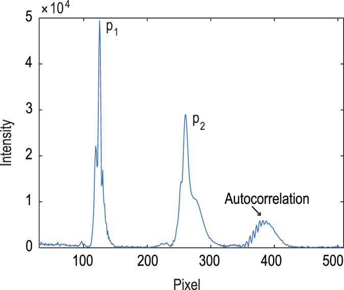 Spectrum (a-scan) of the focus measurement after applying a fast Fourier transform (FFT) to the interference raw signal. The lower (p 1 ) and upper (p 2 ) reflection peaks from the <t>microtiter</t> plate bottom are clearly visible. There is another peak formed through the autocorrelation of the two plate bottom reflections which resides around pixel position 390.