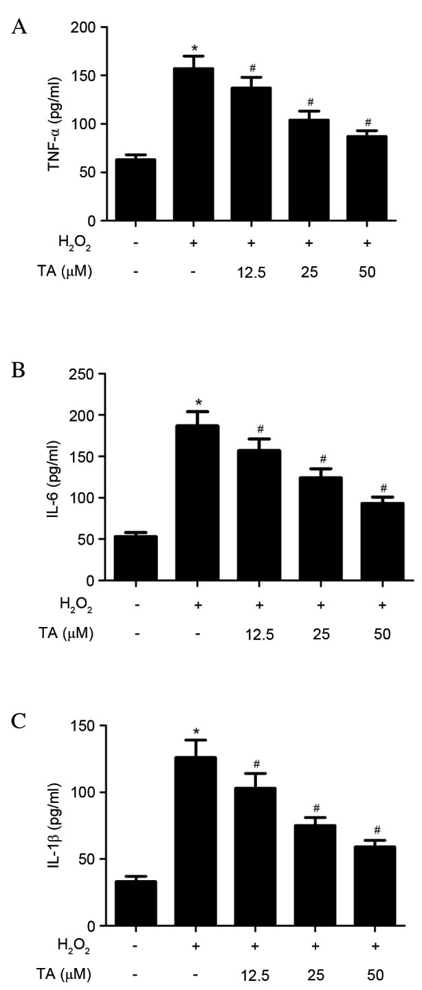 Effects of TA on TNF-α, IL-6 and IL-1β production in RVSMCs induced with H 2 O 2 . RVSMCs were pretreated with various concentrations of TA (0, 12.5, 25 and 50 µ M) for 2 h, followed by treatment with H 2 O 2 (final concentration 100 µ M) for a further 24 h. Enzyme-linked <t>immunosorbent</t> assay was performed to quantify (A) TNF-α, (B) IL-6 and (C) IL-1β levels. Data are presented as the mean ± standard deviation obtained from five individual experiments performed in triplicate. * P