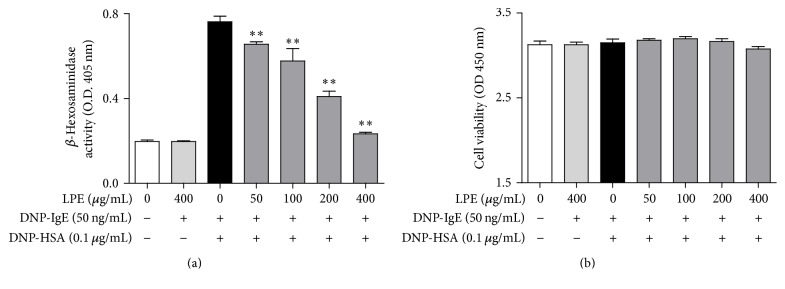 Effect of LPE on degranulation and cell viability in IgE-mediated RBL-2H3 cells. RBL-2H3 cells were seeded on a 24-well plate (1 × 10 5 cells/well) or a 96-well plate (1 × 10 4 cells/well) in MEM- α with 10% FBS at 37°C overnight and further incubated with DNP-IgE for 24 h. IgE-sensitized cells were preincubated with LPE (0 to 400 μ g/mL) for 1 h and then stimulated with DNP-HSA (0.1 μ g/mL) for 4 h. β -Hexosaminidase activity and cell viability were determined as described in Section 2 . Data are the mean ± SD values of triple or octuple determinations. ∗∗ P