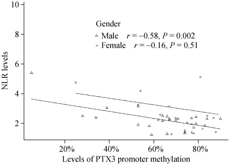 Association between the NLR and levels of PTX3 promoter methylation. Levels of PTX3 promoter methylation are negatively correlated with NLR in male patients ( r = −0.58, P = 0.002). NLR: neutrophil to lymphocyte ratio; PTX3: Pentraxin 3.