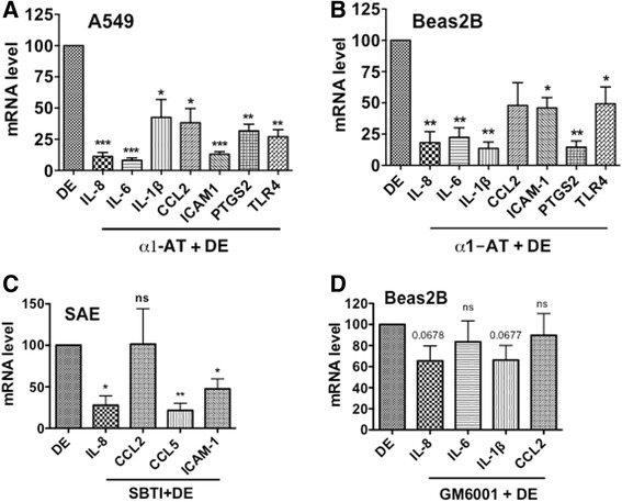 Effects of protease inhibitors on inflammatory gene induction. A549 ( a ), Beas2B ( b ) and SAE ( c ) cells were treated with medium, dust extract (DE) (0.25 %) alone or dust extract (0.25 %) in the presence of 25 μg/ml α1-antitrypsin (α1-AT) or 25 μg/ml soybean trypsin inhibitor for 3 h. Beas2B cells ( d ) were first treated with medium or medium containing metalloproteinase inhibitor GM6001 (10 μM) for 1 h and then exposed to medium or dust extract (DE) (0.25 %) for 3 h. Levels of mRNAs were determined by qRT-PCR. Levels of each mRNA in dust extract treated cells were arbitrarily considered as 100 and relative levels in cells treated with a combination of dust extract and inhibitors are shown. Data are means ± SE ( n = 3). * P