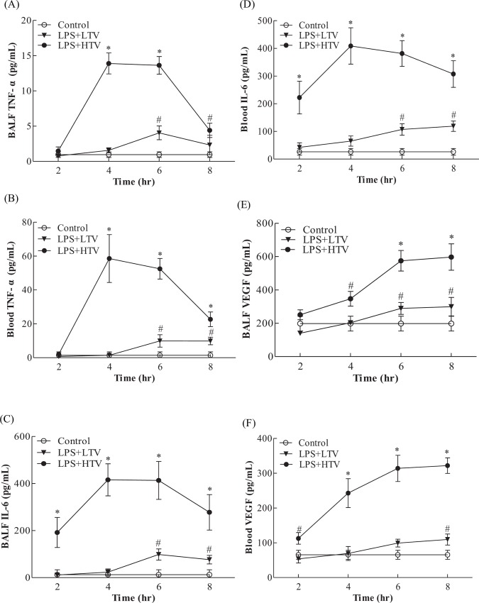 Time dependent effects of LPS+HTV on (A) BALF TNF-α, (B) blood TNF-α, (C) BALF IL-6, (D) blood IL-6, (E) BALF VEGF and (F) blood VEGF. Values represent the mean ± SD ( n = 4–6). # p