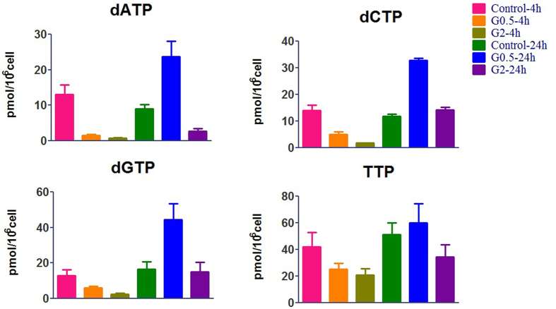 Effects of dFdC on dNTP pool sizes after treatment of A549 cells with 0.5 and 2.0 μM of dFdC. Each data point is an average of two independent experiments (done in triplicate) and is reported as mean ± standard deviation values.