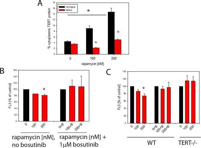 Rapamycin causes nuclear exclusion of TERT and reduces cellular ROS levels in a TERT-dependent fashion ( A ) Extranuclear TERT levels (as fraction of total cellular anti-TERT immunofluorescence signal) in MCF7 cells treated with the indicated concentrations of rapamycin. Bosutinib (1μM, red bars) was added to inhibit Src kinase. (*P