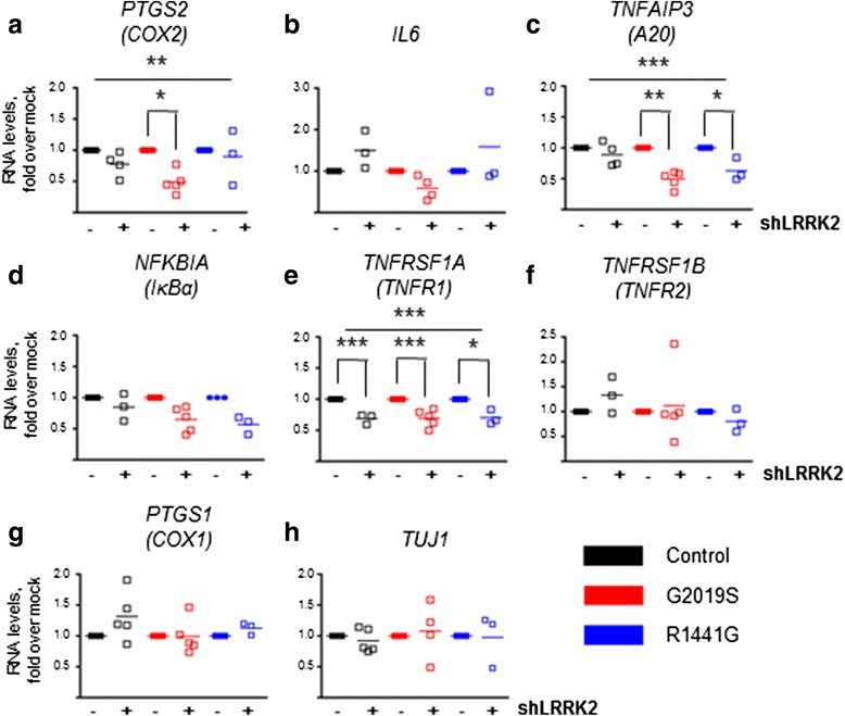 Effect of endogenous LRRK2 silencing on NF-κB target genes. a-h qRT-PCR analyses of inflammatory genes 5 days after LRRK2 silencing. The effect of LRRK2 silencing was evident in the regulation of RNA levels of COX-2 , A20 , and TNFR1 . For COX-2 , the effect of LRRK2 silencing was significant (two-way ANOVA, ** P = 0.0021,), and post hoc analyses revealed a significant effect of shLRRK2 on RNA levels specifically in LRRK2 G2019S neurons (** P