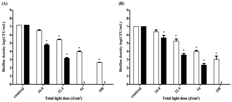 Cell survival fraction of Aggregatibacter actinomycetemcomitans ( A. actinomycetemcomitans ) ( A ) and P. gingivalis ( B ) biofilms in a 3D gingival model after incubation with F-2 for 0.5 h, and subjected to various doses of light illumination from four sides. After PDI, biofilm maintained contact with F-2 for 0.5 h (☐) and 2 h (■) prior to plate count. Each value is the mean of three independent experiments ± standard deviation. * p
