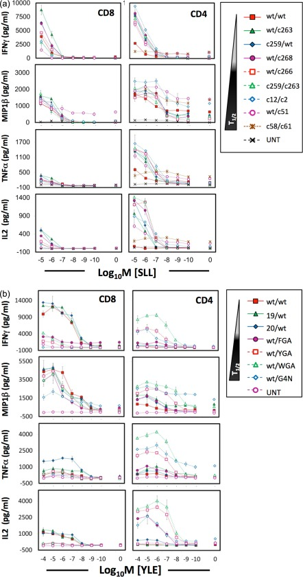 Human leucocyte antigen (HLA)‐I‐restricted NY‐ESO‐1 and gp100 T cell receptor (TCR)‐transduced CD4 + T cells exhibit a different cytokine profile compared to CD8 + counterparts in response to cognate antigen stimulation. CD8 + and CD4 + T cells transduced with the NY‐ESO‐1 (a) and gp100 (b) TCRs were stimulated with titrating concentrations of SLLMWITQC (SLL) and YLEPGPVTV (YLE) peptide, respectively, loaded on HLA A2 + T2 target cells. After overnight incubation, the culture supernatant was harvested for measurement of interferon (IFN)‐γ, macrophage inflammatory protein (MIP)‐1β, tumour necrosis factor (TNF)‐α and interleukin (IL)‐2 by enzyme‐linked immunosorbent assay (ELISA). The biophysical data of the higher‐affinity TCRs are described in Table 1. Values reflected here are from a single representative experiment of two independently performed experiments. UNT = non‐transduced cells.