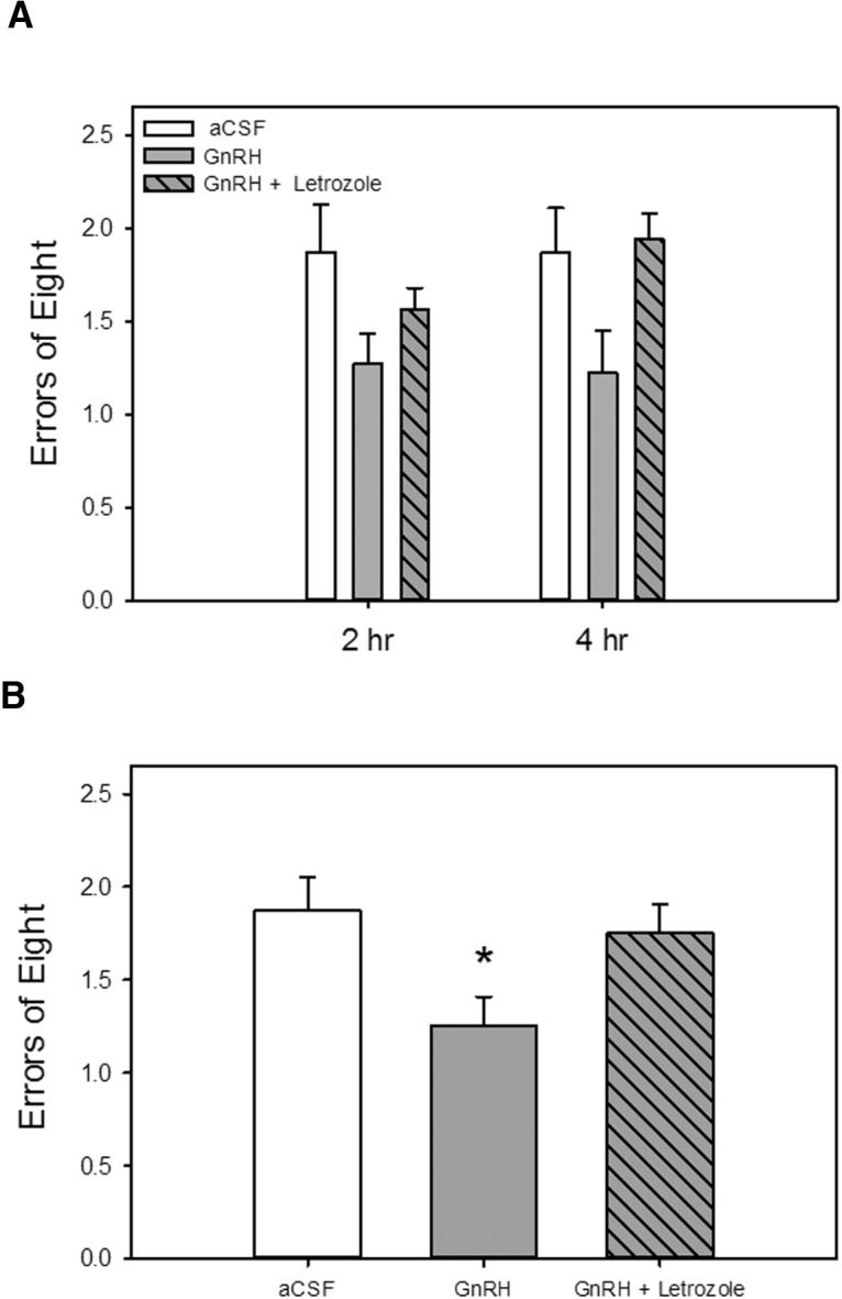 Effects of intrahippocampal delivery of GnRH alone or with an aromatase inhibitor on performance on a hippocampus-dependent spatial memory task. Rats were ovariectomized, and all were implanted with capsules containing cholesterol vehicle. Chronic bilateral intrahippocampal delivery of GnRH, GnRH + the aromatase inhibitor letrozole, or aCSF vehicle was initiated 1 week before and maintained throughout testing. A , Memory performance in a radial-arm maze with delays imposed between the fourth and fifth arm choices. Mean number of errors of the first eight arm choices (±SEM) at each delay. B , Mean number of errors of the first eight arm choices (±SEM) averaged across both delays. * p