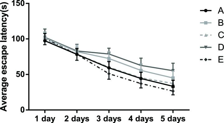Graph of the average escape latency (EL) of rats in the place navigation test Note: Group A, blank control group; Group B, anesthetized rat model group; Group C, anesthetized rat model + PI3K/Akt agonist group; Group D, anesthetized rat model + PI3K/Akt antagonists group; Group E, PI3K/Akt agonist group.