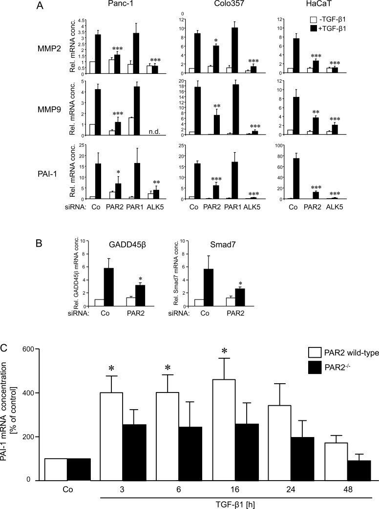Effects of PAR2 depletion on the TGF-β1 response of invasion associated genes A. Panc-1, Colo357, and HaCaT cells were transfected twice on two consecutive days with 50 nM of control (Co), PAR2, PAR1 or ALK5 siRNA, as indicated, using Lipofectamine RNAiMAX. Twenty-four h after the second round of transfection, cells were stimulated, or not, with 5 ng/ml TGF-β1 for another 24 h (Panc-1, Colo357) or 48 h (HaCaT) followed by RNA isolation and qPCR for the indicated genes. B. Panc-1 cells were transfected as described in A using the indicated siRNAs. Twenty-four h after the second round of transfection, cells were stimulated, or not, with 5 ng/ml TGF-β1 for 1 h followed by RNA isolation and qPCR for GADD45β and Smad7. In A and B, bars represent mean values ± SD of three wells normalised to β-actin and TBP. Successful knockdown of PAR2, ALK5 and PAR1 expression was verified by qPCR (not shown). One representative experiment out of three experiments performed in total is shown. P