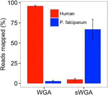 Selective whole genome amplification (sWGA) enrichment. Simulated clinical samples comprising 96% human DNA and 4% P. falciparum DNA (3D7) were amplified using either WGA or sWGA. Amplified samples were sequenced to determine the proportion of reads mapping to human or P. falciparum reference genomes