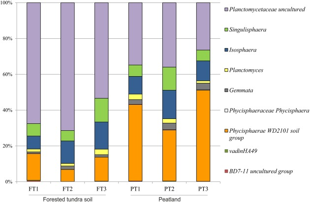 Community composition of the Planctomycetes in three peatland sites (PT) and three sites of the forested tundra (FT) based on Illumina paired-end sequencing of 16S rRNA genes. The results of statistical analysis of differences between relative abundances of particular groups of planctomycetes in two study sites are given in Supplementary Table S3 .