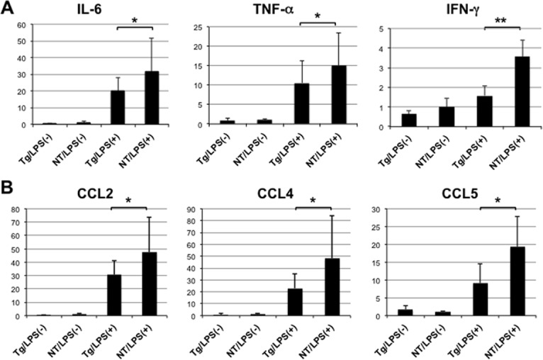 Expression of intrahepatic cytokines and chemokines. (A) Expression levels of IL-6, TNF-α, and IFN-γ genes were determined using quantitative real-time PCR in the livers of NS5A-transgenic (Tg) and non-transgenic (NT) mice 6 h after injection with LPS (N = 5, each) or normal saline (N = 3, each). (B) Expression levels of CCL2, CCL4, and CCL5 were similarly determined using quantitative real-time PCR. * p